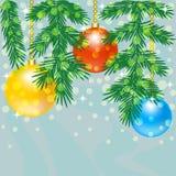 Ramo dell'albero di Natale con le bagattelle Immagine Stock