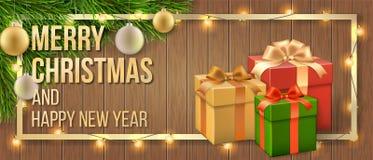Ramo dell'albero di Natale del contenitore e di regalo della cartolina di Natale fotografie stock