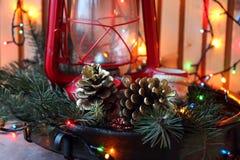 Ramo dell'albero di Natale e dei coni Fotografia Stock