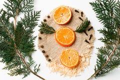 Ramo dell'albero di Natale, mandarino, decorazione del nuovo anno su bianco Concetto creativo, spazio per testo, logo Disposizion Fotografia Stock Libera da Diritti
