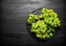Ramo dell'uva bianca su un piatto Fotografia Stock Libera da Diritti