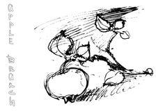 Ramo della mela del disegno della mano Fotografia Stock