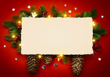 Ramo di Art Christmas Background With Fir Fotografie Stock