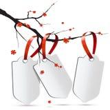 Ramo di Sakura con tre etichette Illustrazione di Stock