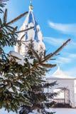 Ramo di un albero attillato Tempio ortodosso nei precedenti immagine stock libera da diritti
