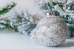 Ramo di un albero di Natale e di un primo piano del giocattolo fotografia stock libera da diritti