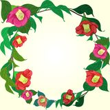 Ramo di una camelia rossa Illustrazione di vettore Struttura rotonda dei fiori e delle foglie Piante del cosmetico e della profum illustrazione di stock