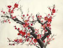 Ramo di una prugna selvatica di fioritura illustrazione di stock