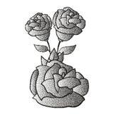 Ramo dibujado mano de la flor, tono medio color de rosa libre illustration