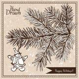 Ramo disegnato a mano dell'abete con il pupazzo di neve Immagine Stock Libera da Diritti