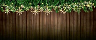 Ramo do abeto com luzes de néon e a festão dourada com flocos de neve o ilustração do vetor