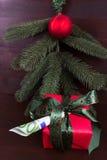 Ramo do abeto no fundo de madeira escuro para o Natal com do presente dinheiro frequentemente Foto de Stock