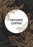 Ramo do café com folhas e feijões de café molde Vetor Imagens de Stock Royalty Free