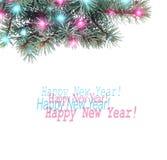 Ramo do Natal do abeto com festões e luzes brilhantes Fotos de Stock