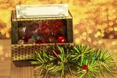 Ramo do Natal da arca do tesouro e garrafas pequenas imagens de stock royalty free
