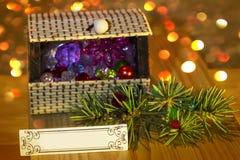 Ramo do Natal da arca do tesouro e garrafas pequenas fotografia de stock