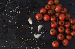 Ramo dos tomates e do alho no lado Fotos de Stock