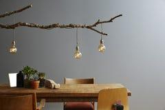 Ramo e bulbos de madeira interiores modernos da mobília e da lâmpada do projeto fotografia de stock royalty free