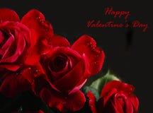 Ramo feliz de las rosas rojas del día del ` s de la tarjeta del día de San Valentín Foto de archivo libre de regalías