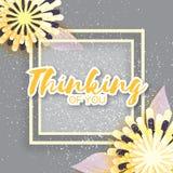 Ramo floral amarillo de la papiroflexia Tarjeta de felicitación con el marco para el texto Foto de archivo libre de regalías
