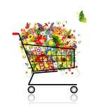 Ramo floral en el carro de compras para su diseño libre illustration