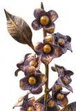 Ramo forjado de flores en un florero metálico, de oro en el color, aislado en un fondo homogéneo Fotografía de archivo libre de regalías