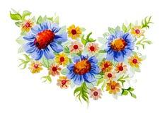 Ramo hermoso de crecimiento de flores en prado ilustración del vector