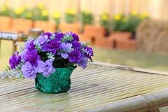 Ramo hermoso de la flor en la tabla de madera Imagen de archivo