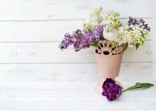 Ramo hermoso de lila en florero rosado Foto de archivo