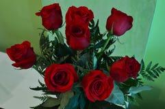 Ramo hermoso del día del ` s de la tarjeta del día de San Valentín rosas rojas botánica del 14 de febrero Imágenes de archivo libres de regalías
