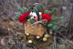 Ramo hermoso del invierno de picea, de manzanas, de claveles y de algodón imagen de archivo libre de regalías
