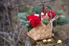 Ramo hermoso del invierno de picea, de manzanas, de claveles y de algodón imagenes de archivo
