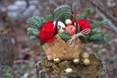 Ramo hermoso del invierno de picea, de manzanas, de claveles y de algodón fotos de archivo