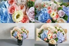 Ramo hermoso hecho de diversas flores en fondo gris flor colorida de la mezcla del color Primer Imagen de archivo libre de regalías