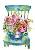 Ramo lujoso de flores en un cubo en una silla Pintado en acuarela ilustración del vector
