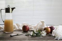 Ramo, maçãs e um jarro com suco Fotos de Stock Royalty Free