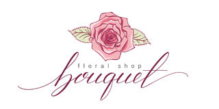 Ramo Mano hermosa dibujada poniendo letras a Logo Floral Shop Fotos de archivo