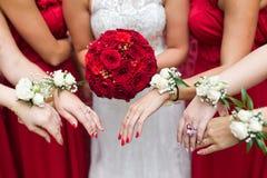 Ramo nupcial de las flores y de las novias de la boda Imágenes de archivo libres de regalías