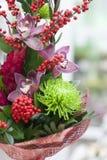 Ramo original de flores de los gerberas, rosas de Borgoña, orquídeas, tulipanes Imágenes de archivo libres de regalías