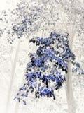 Ramo outonal com folhas e as árvores nevoentas ilustração royalty free
