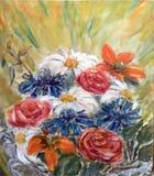 Ramo pintado de flores con el fondo amarillo stock de ilustración