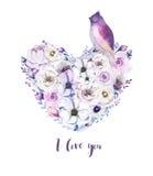Ramo piony floral del corazón de la rosa del vintage de la acuarela Primavera de Boho Imagenes de archivo