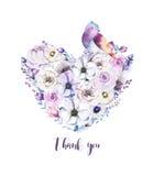 Ramo piony floral del corazón de la rosa del vintage de la acuarela Primavera de Boho Imágenes de archivo libres de regalías