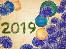Ramo precioso de la Feliz Año Nuevo 2019 imagen de archivo libre de regalías