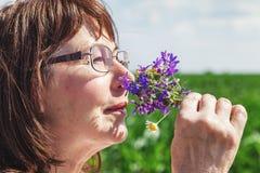 Ramo que huele de la mujer mayor feliz de wildflowers Fotos de archivo