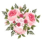 Ramo rosado de las rosas. stock de ilustración