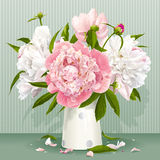 Ramo rosado y blanco de la peonía stock de ilustración