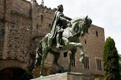 Ramon Berenguer III staty - Barcelona Arkivfoto