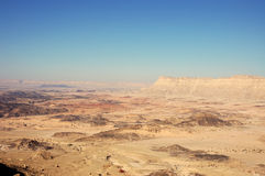 Ramon Crater, Israel. Scenic view of Ramon Crater and Ardon mountain in Negev desert, Israel Royalty Free Stock Images