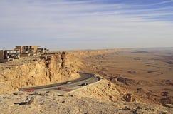 Ramon krater i den Negev öknen Arkivbilder